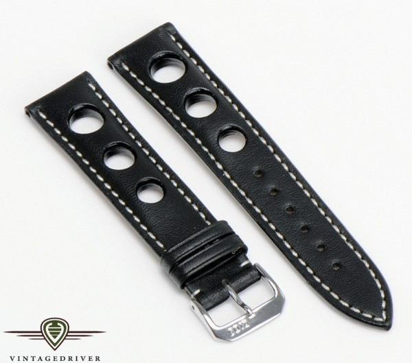 Rallye Band Armbanduhr Leder schwarz
