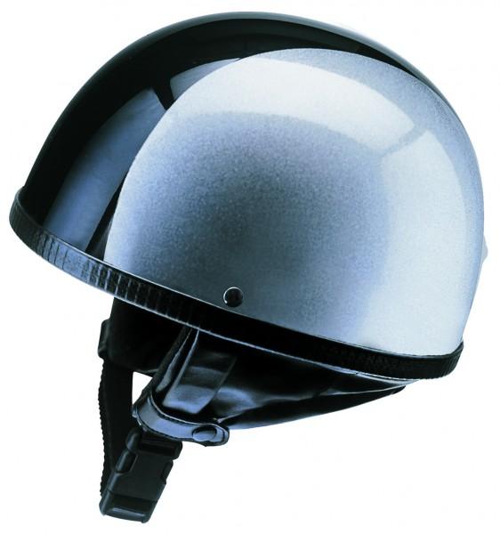 zweifarbiger lackierter Halbschalenhelm silber mit schwarz streifen Moped Mofa  Roller