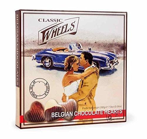 Belgische Schokoladenherzen in Oldtimermotiv Verpackung