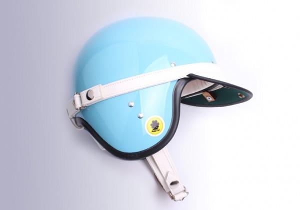 Pacto Carrera Master Halbschalenhelm Oldtimer Helm Vintage blau mit Leder Visir weiss