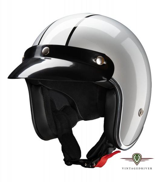 Silber Grauer Jethelm mit ECE schwarzer Schirm Brillenschlaufe hinten Motorradbrille
