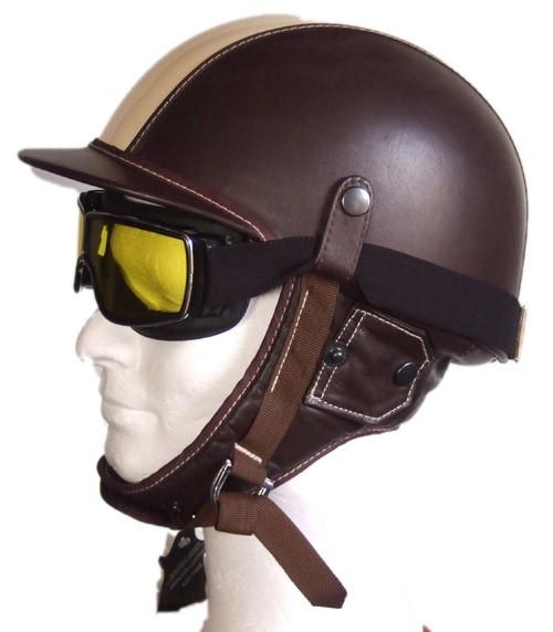 Retro-Vintage-Fahrer-Helm-creme-braun-Leder-50er-Jahre-Cabrio-Motorad
