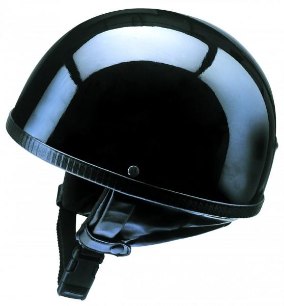 retro halbschalenhelm glänzend schwarz braincap für Oldtimer Motorrad Moped Roller