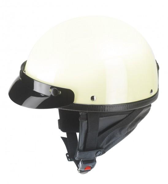 Halbschalenhelm in Elfenbein mit abnehmbarem Nackenschutz und Helmschirm