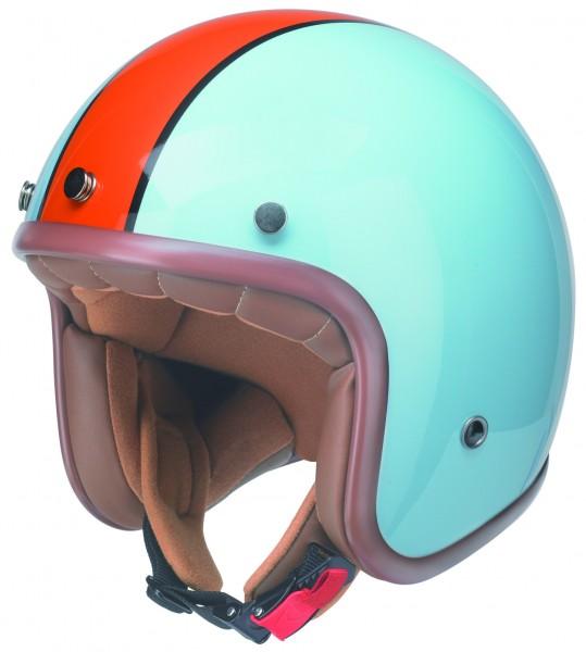 Reto Vintage Jet-Helm gulf hellblau orange vespa motorrad oldtimer