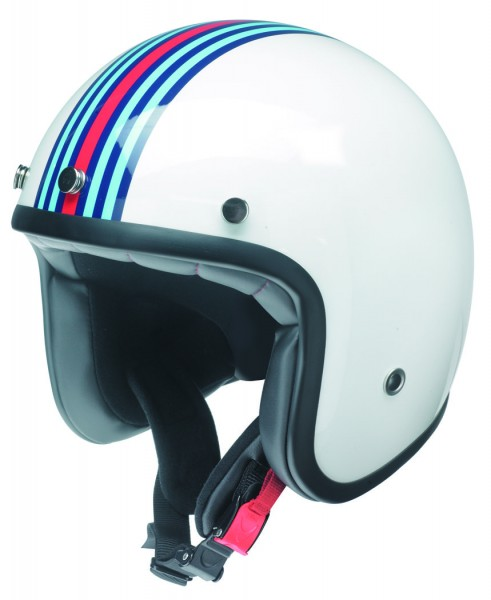 Retro Jet Helm weiß mit M-Racing Design EC-22-05