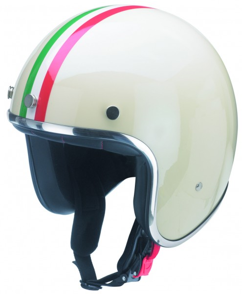 Moderner Jethelm im retro-look mit Italien Farben und ECE Kennzeichen