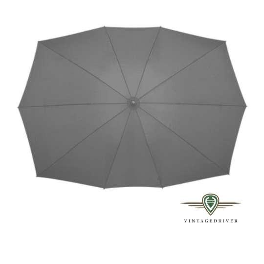 Rechteckiger Regenschirm grau für zwei Personen mit Logo-Druck | vintagedriver cabrio-Notverdeck